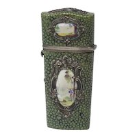Antique Shagreen and Enamel Complete Etui