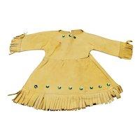 Vintage Native American Buckskin Doll Dress