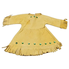 Vintage Native American Buckskin Doll Dress