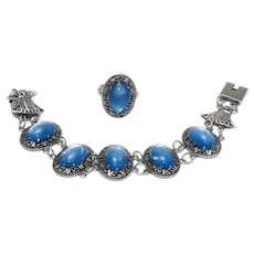 Vintage Silver and Opalescent Glass Bracelet and Ring