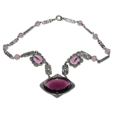 Vintage Deco Amethyst Glass and Metal Choker Necklace