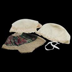 Three Vintage Boudoir Caps