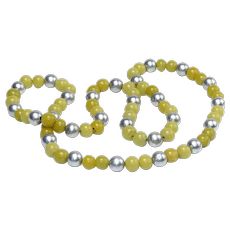 Vintage Peking Glass and Metal Bead Necklace