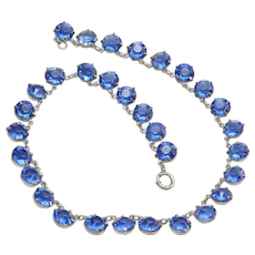Vintage Sterling and Jeweled Choker Necklace