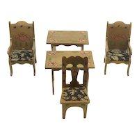 Vintage Set of Wooden Doll House Furniture