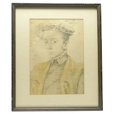 Vintage Framed Print of Tudor Lady