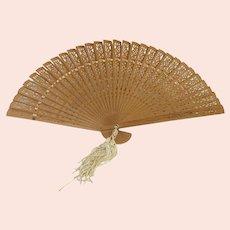 Vintage Wooden Pierced Fan