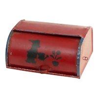 Vintage Tin Tole Painted Dollhouse Breadbox