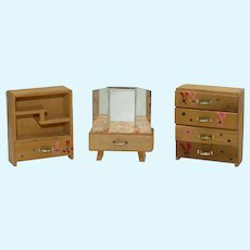 Three Matching Pieces of Vintage Dollhouse Furniture