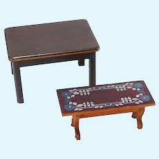 Two Vintage Wooden Doll House Tables