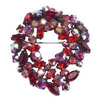 Vintage Sherman Ruby Colored Wreath Brooch
