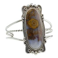 Lovely Silver and Agate Large  Open Clamper Bracelet