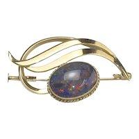 Lovely Art Moderne Gold and opal Swirl Brooch