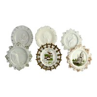 Vintage Group of Six Interesting Milk Glass Dishes