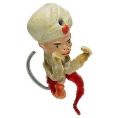 Vintage Composition and Chenille Monkey Christmas Ornament