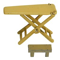 Vintage Metal Dollhouse Ironing Board and Bench