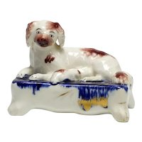 19th Century Staffordshire Spaniel Dog and Pup Quill Pen Holder