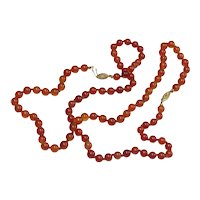 Vintage String of Carnelian Beads