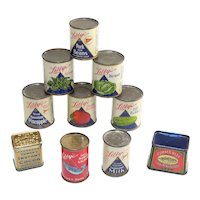 Group of 10 Miniature Vintage Tins for Dollhouse