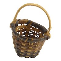 Lovely Handmade Miniature Splint Basket Doll Accessory