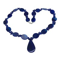 Vintage Blue Glass Bead Necklace