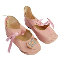 Pair of Pink Antique Doll Shoes