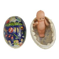 Vintage Fancy Easter Egg Candy Container with Vintage Kewpie Doll