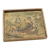 Antique Double Sided Wooden Jigsaw Puzzle IOB