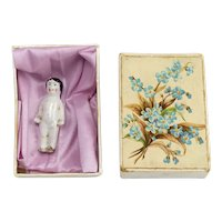 Tiny Frozen Charlotte in Old Floral Design Box As Is