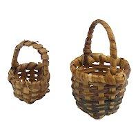 Two Splint Handmade Baskets Doll Accessories