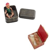 Two Tiny Celluloid Dolls in Boxes