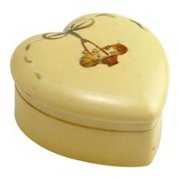 Pretty Decorated Heart Shaped Celluloid Box