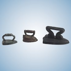 Three Miniature Antique Irons for A Dollhouse