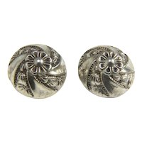 Pair of Vintage Silver Plated Buttons