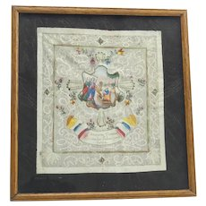 Antique Paper Lace and Hand Painted Framed Picture