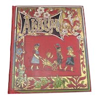 Antique Scrapbook with Interesting Trade Cards, Greeting Cards and Scraps