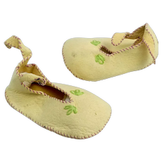 Pair of Vintage Handstitched Doll Slippers