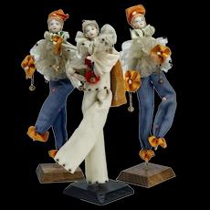 Three Bisque Head Party Favour Pierrette Dolls