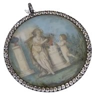 Antique Hand Painted Mourning Miniature with Glass Paste Surround