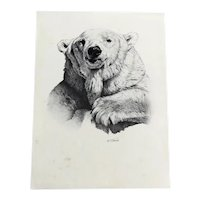 Black and White Print of a Bear Al. J. Casson