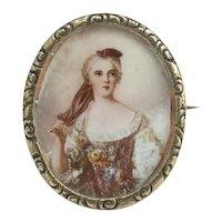 Very Pretty Antique Portrait Brooch