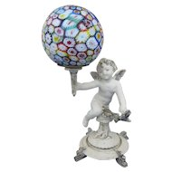 Little White Cherub Lamp with Millefiori Shade