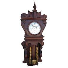 Waterbury Library Wall Clock in Rich Red Mahogany
