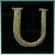 Vintage Big Beautiful Bronze Letter 'U'
