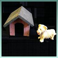 Vintage Erzgebirge Dog House with Tiny Schnauzer