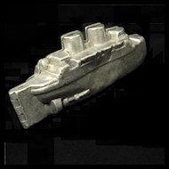 Vintage Pewter Ice Cream Battleship Mold #612