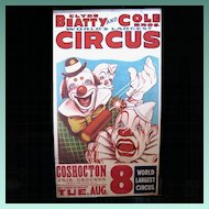 Original 1960's Clyde Beatty Circus Poster with Clowns