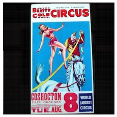 """1960s Clyde Beatty, Cole Circus Poster """"World's Largest Circus'"""