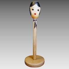 Flapper's or lady Head Hat Stand, 1920s, All Original