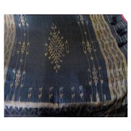 "Vintage 50"" Square Fringed Black Silk Woven shawl, Gold Thread"